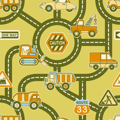 Foto auf Leinwand Auf der Straße Cute map of urban traffic - seamless vector pattern