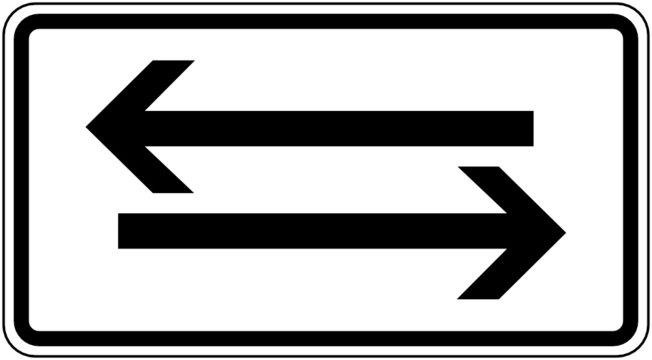 Zusatzzeichen Beide Richtungen, zwei waagerechte Pfeile