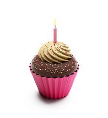 Birthday chocolate cupcake, sweet dessert with whipped cream