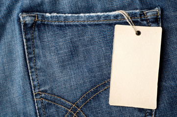 Blue jeans blank tag shopping