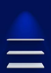 Drei Regale an Wand mit Beleuchtung - Blau Weiß