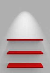 Drei Regale an Wand mit Beleuchtung - Weiß Rot
