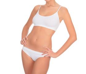female body in white underwear isolated on white background