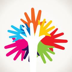colorful hand like tree shape stock vector