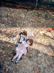 Happy little sisters on swing in park