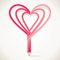 pencil is design with heart shape stock vector