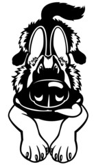 cartoon dog black white
