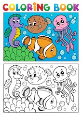 Coloring book with marine animals 4