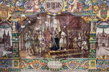 Burgos, escena histórica, retablo cerámico