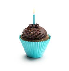 Blue birthday chocolate cupcake, sweet dessert with  cream