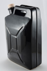 side view of black ceramic jerrican