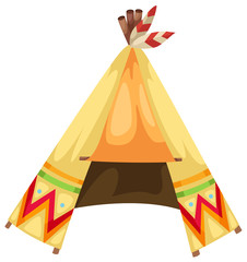 Photo on textile frame Indians cartoon indians tepee vector