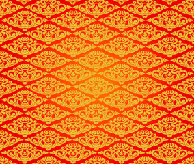 Beautiful Asian art pattern on red background