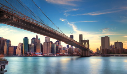 Fototapete - Pont de Brooklyn vers Manhattan, New York.