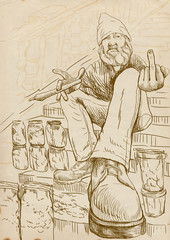 Dude selling marijuana on the stairs / Hand drawing