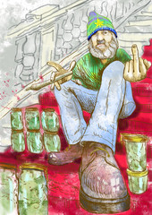 Dude selling marijuana on the stairs. / Hand drawing