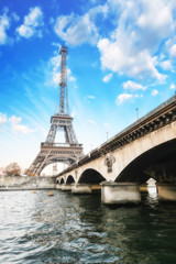 Wall Mural - Paris - Beautiful view of Eiffel Tower  and Iena Bridge