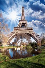 Fototapete - Paris. Gorgeous wide angle view of Eiffel Tower in winter season