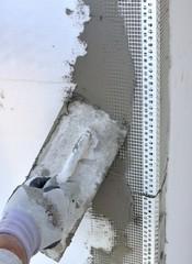Construction site - Installing external insulation