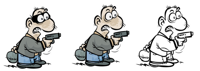 Cartoon gunman in different variants.