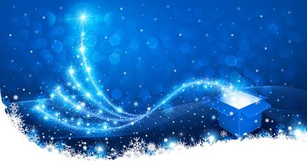 Wall Mural - Christmas background with magic box and Christmas Tree