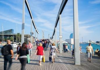 People walking on Rambla de Mar in Barcelona, Spain