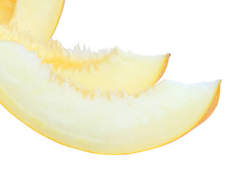 Sliced of ripe melon with over white.Isolated