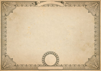 blank vintage certificate with guilloche border