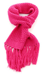 Pink knitted scarf isolated on white.
