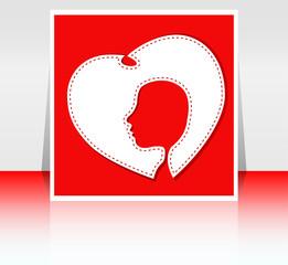 Women in heart, stylized image of female silhouette in heart