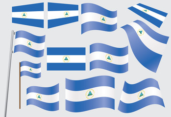set of flags of Nicaragua vector illustration