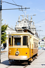 Fotomurales - tram in front of Carmo Church (Igreja do Carmo), Porto, Portugal