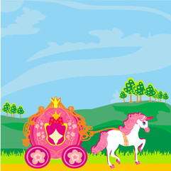 In de dag Pony Fine horsy harnessed in the carriage of the princess.