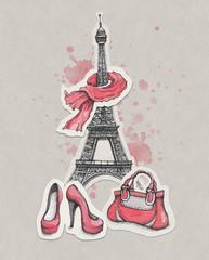 Poster Illustration Paris Eiffel Tower, shoes and handbag