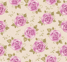 Vintage seamless pattern with watercolor roses