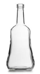 Glass empty bottle isolated on white background