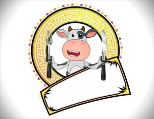 Logotipo Restaurante Vaca Comida