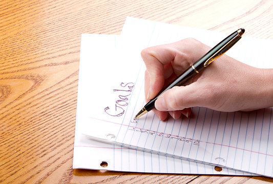 Writing goals on a paper