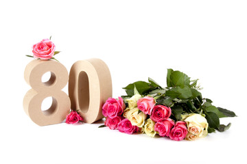 Age in figures on a bed of roses