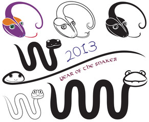 Funny silhouettes of snakes