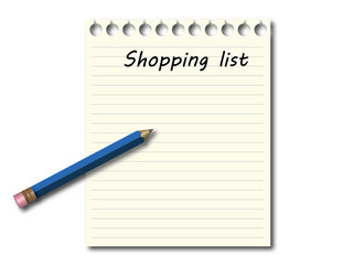 Shopping list with blue pencil
