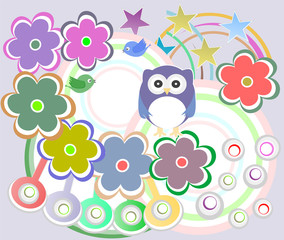 Seamless pattern with birds owls and flowers