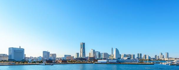 Panoramic view of Minato-Mirai skyline over Yokohama harbor