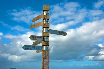 Signpost on Lighthouse at cape of good hope, South Africa