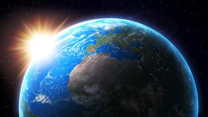 Sun setting over Earth