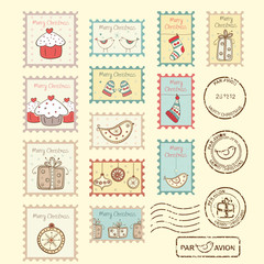Set of christmas post stamps