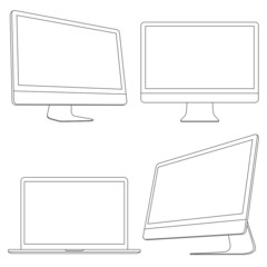 Computer displays and laptop. Vector set