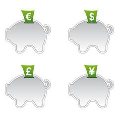 Sparschwein Icons - Währungen