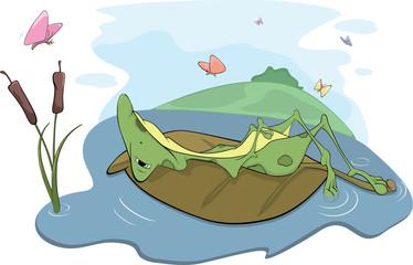 Green big frog. Cartoon