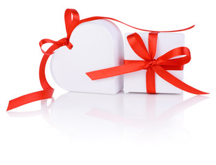 Valentines Day gift in white box and heart red ribbon isolated o